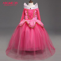 ABGMEDR Brand Cartoon Aurora Dress Girls Sleeping Beauty Dresses Clothes Children Christmas Clothing Kids Party Cosplay