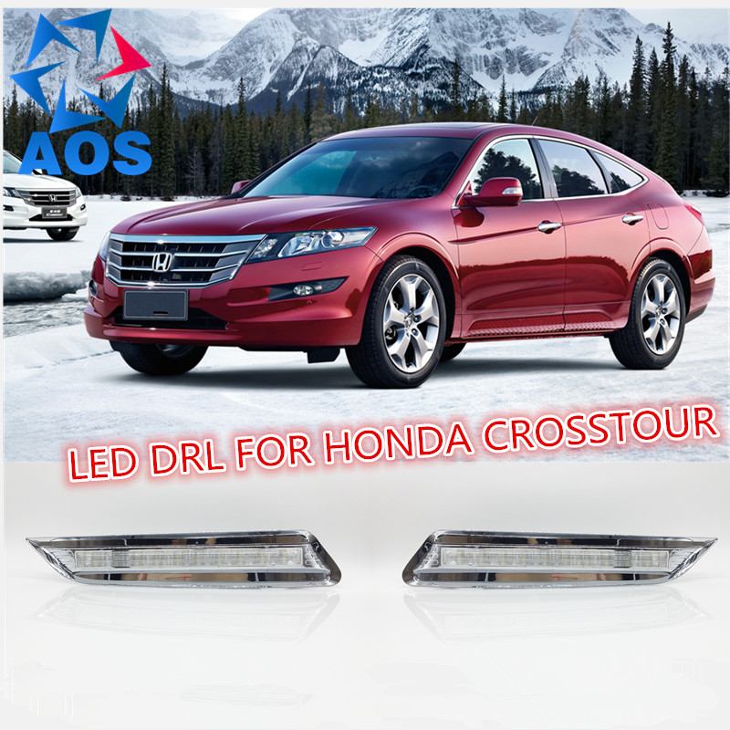 2PCs/set LED Daylight waterproof LED DRL Daytime Running Lights for Honda Crosstour 2012 2013 with fog lamp 2 pcs for vw tiguan 5 pcs of light 2010 2012 daytime running lights fog head lamp car styling white daylight waterproof