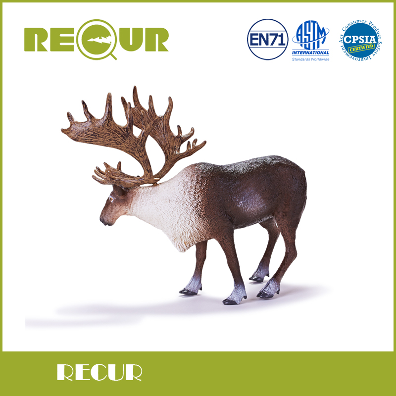 Recur Toys Reindeer Figures Hand Painted Soft PVC Wild Animal Model X'mas gift Collection For Kids recur toys high quality horse model high simulation pvc toy hand painted animal action figures soft animal toy gift for kids