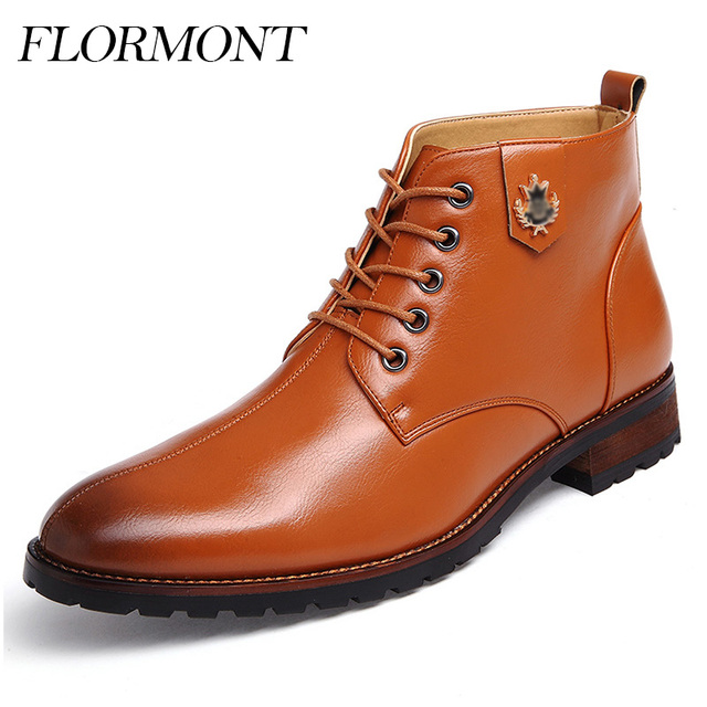 e90fd925e2c Otoño Para Hombre Zapatos de Vestir de Charol Genuina Botas Impermeables Hombres  Botas Lace Up Primavera
