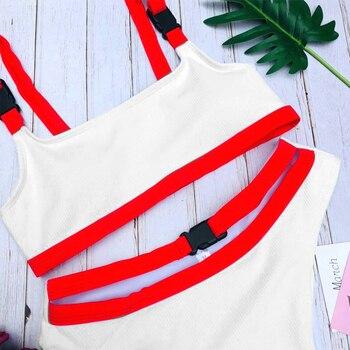 2020 Sexy White/Red High Cut Out Biquini Bandage Buckle Swim Bathing Suit Swimsuit Swimwear Women Brazilian Bikini Drop Shipping 4