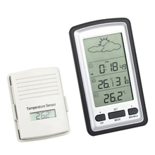 Cheaper Wireless Weather Station Digital LCD Home Thermometer In/Outdoor Temperature Meter Alarm Clock With Remote Sensor Green Backlit