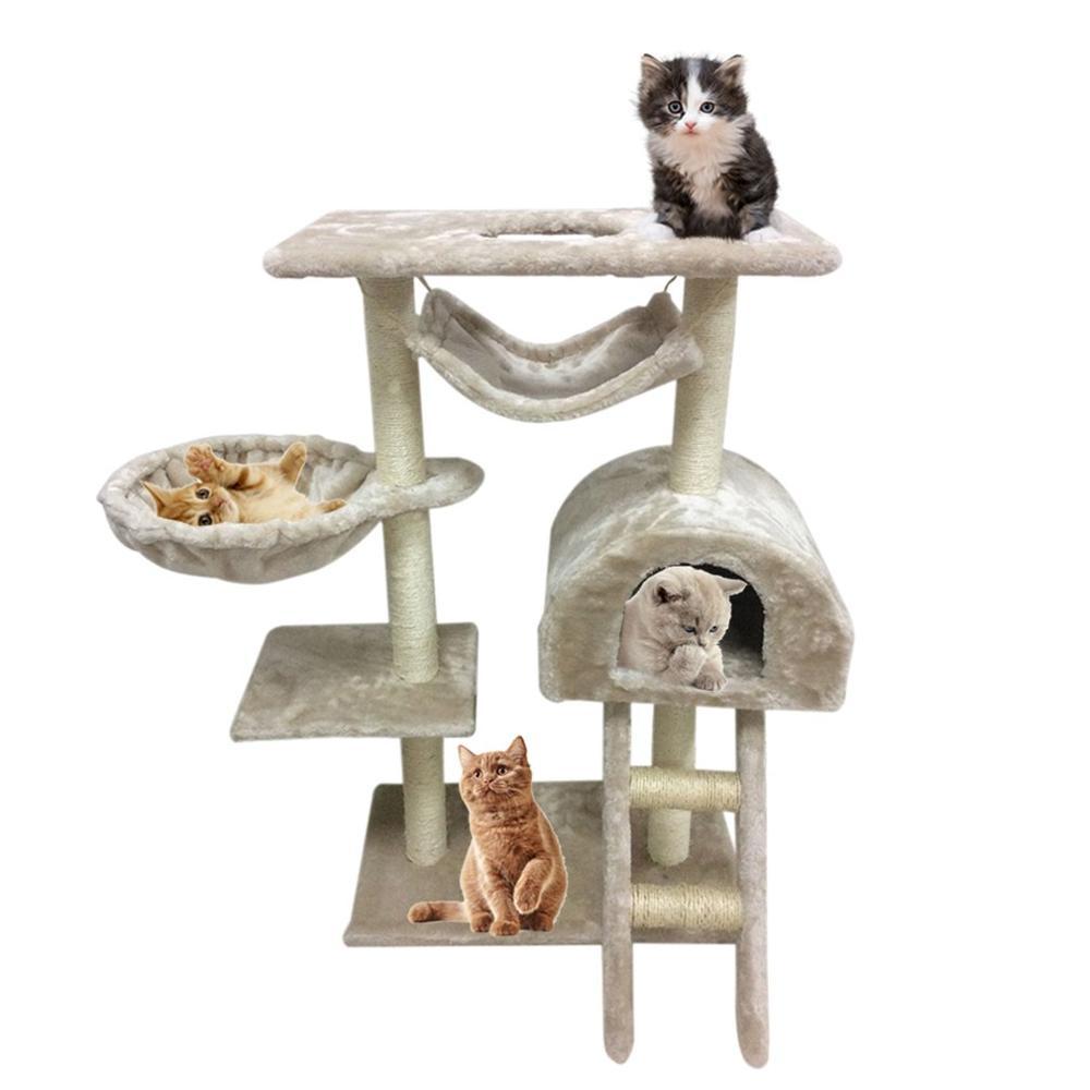 WG-005 belle couleurs décontracté de la maison Stable Structure chat animal escalade arbre exercice jouant jouets Beige blanc