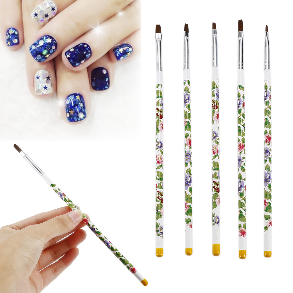 Elecool 5pcsset Painting Flat Brush Nail Art Uv Gel 3d Manicure