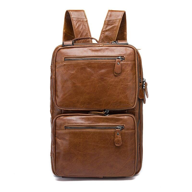 Norbinus мужской портфель из натуральной кожи, Вместительная деловая сумка для ноутбука, многофункциональная сумка мессенджер на плечо, мужска... - 3