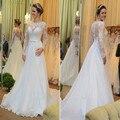 Long Sleeve Scoop Vestido De Noiva 2016 Wedding Dress Lace  Applique Robe De Mariage Casamento Bridal Wedding Gowns z012201