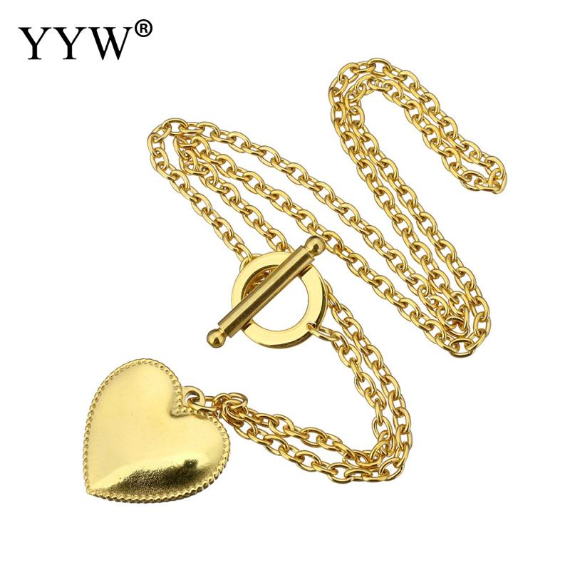 YYW Wedding Jewelry European Style New Fashion Gold Color Plated Oval Chain Stainless Steel Jewelry Heart Pendant Necklace Woman