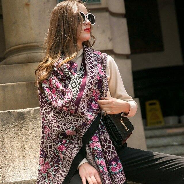 Moda szaliki i szale duży szalik luksusowej marki wełny Wrap muzułmański hidżab Poncho szalik z pledu indie chustka osłona twarzy