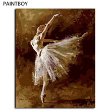 PAINTBOY Framed Picture DIY Oil Painting By Numbers Ballet Girl DIY Digital Canvas Oil Painting Home Decor For Living Room G408(China)