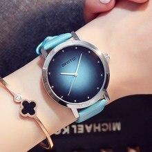 Gimto marca vestido de las mujeres relojes señoras reloj de cuarzo creativo informal amantes niñas reloj pulsera mujeres reloj relogio del deporte