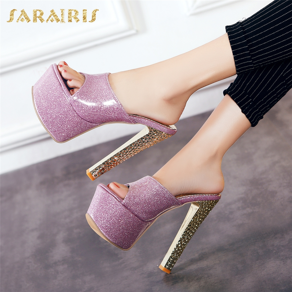 SARAIRIS Brand New Top Quality Platform BIG SIZE 31 48 Party women's Shoes Sandals Sexy High Heels Woman Mules Pumps Slippers