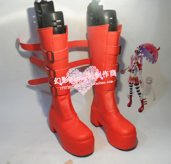 Anime One Piece Perona Punk Red Cosplay Boots Shoes H016