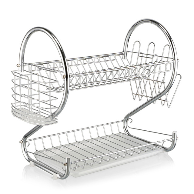 Double Layer Home Kitchen Dish Rack S-Shaped Chrome Stainless Plate Dish Cutlery Cup Rack  sc 1 st  AliExpress.com & Double Layer Home Kitchen Dish Rack S Shaped Chrome Stainless Plate ...