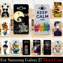 For Samsung Galaxy J7 Case Hard Plastic Mobile Phone Cover Case DIY Color Paitn Cellphone Bag