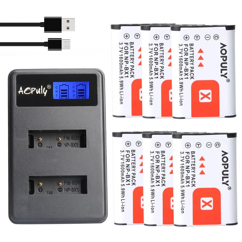 AOPULY 6 piezas NP-BX1 np bx1 batería + LCD cargador para Sony DSC-RX100 DSC-WX500 IV HX300 WX300 HDR-AS15 X3000R MV1 AS30V HDR-AS300