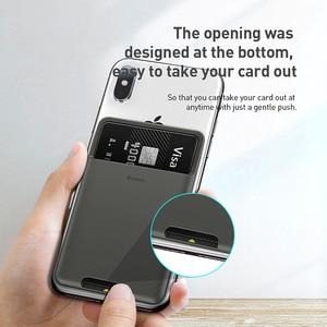 Baseus Silikon Telefon Karte Fall Handy Zurück Abdeckung Karte Halter ID Karte Halter Dünne Fall Aufkleber für iPhone X xs XR Samsung