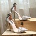 Famosa marca zapatos de tacón alto de lujo de cristal bombas de las señoras negro del arco del rhinestone zapatos de mujer, zapatos de boda de tacón alto transparente