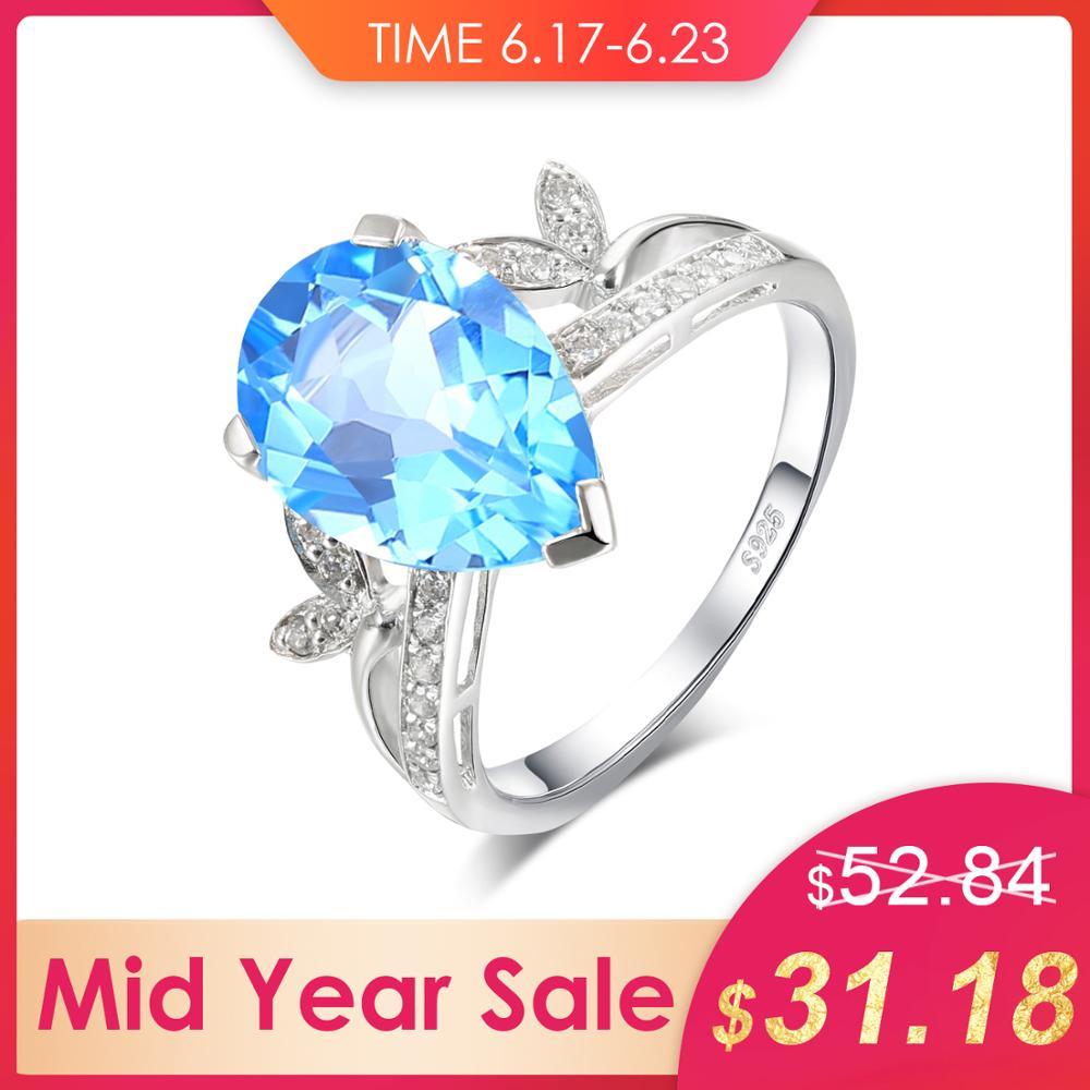 Véritable larme goutte bleu bague topaze solide 925 en argent Sterling mode Bijouterie pierre naturelle charme Vintage bijoux en cristal
