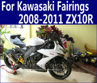 ZX10R 2011 2009 Silver black Fairings For Kawasaki Ninja 2010 2008 08 11 High quality Fairing kit EMS free n35