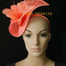 Новые привлекательные Разноцветные коралловые розовые свадебные женские шляпы sinamay Панамы чародейные шляпы для Кентукки Дерби
