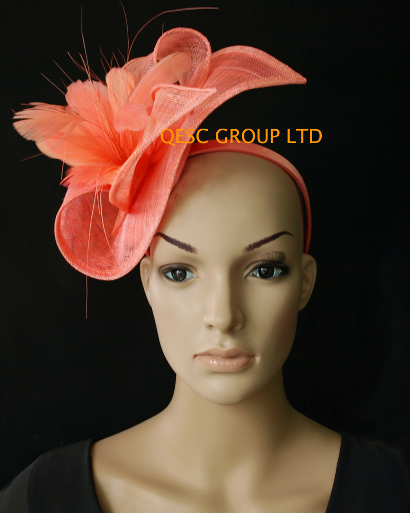 fd864a13 Wholesale NEW 13 Attractive multiple color Coral pink sinamay women's hat  panama Fascinator hats for kentucky derby.-in Women's Hair Accessories from  ...