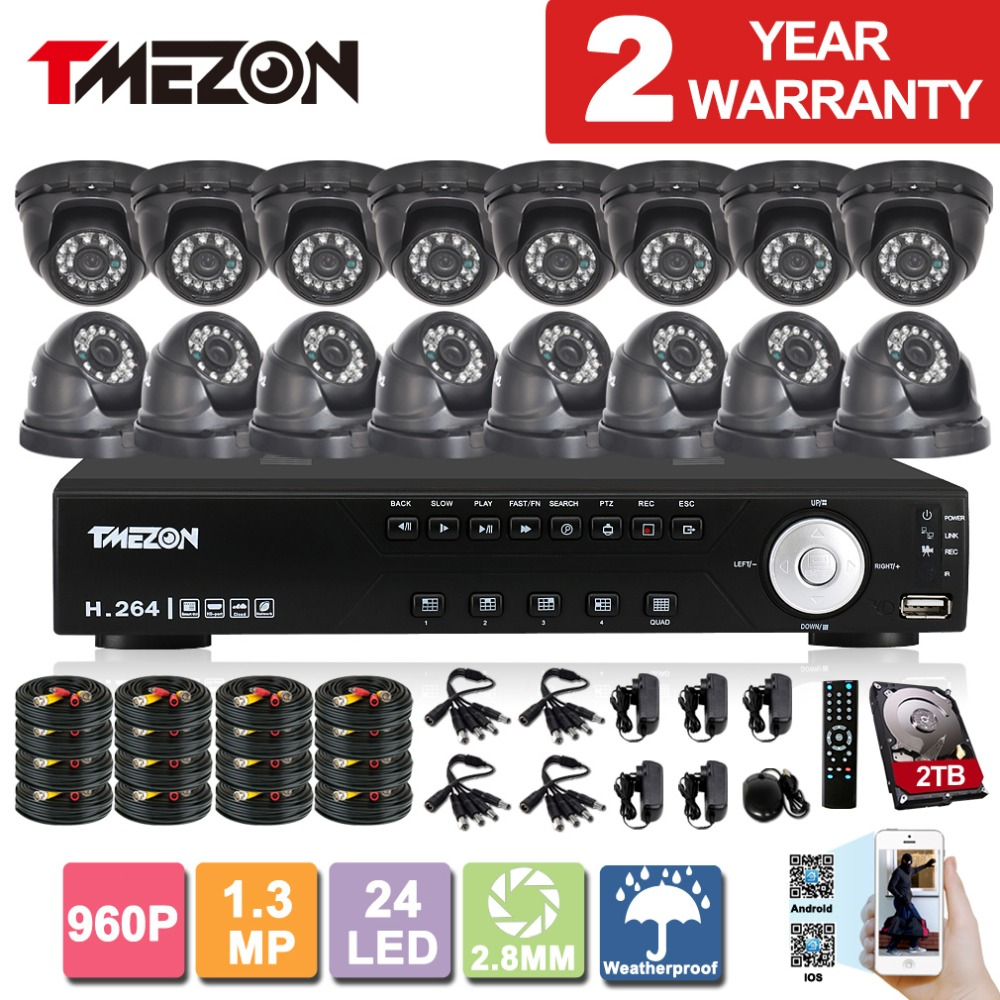 Tmezon AHD 16CH 1080N DVR 16Pcs Dome 960P 1.3MP Camera Security Surveillance System Outdoor Waterproof Night Vision 1TB 2TB Kit tmezon 16ch ahd dvr 16pcs 2 0mp 1080p camera security surveillance cctv system outdoor waterproof ir night vision 1tb 2tb hd kit