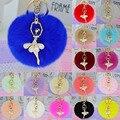 New 2016 rabbit fur ball keychain Bag Pendant Fur Ball Plush Ballet Girl Key chain Metal Key Holder Rabbit