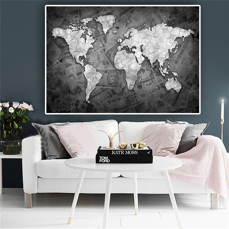 Abstract Black And White World Map Canvas Painting Globe Maps