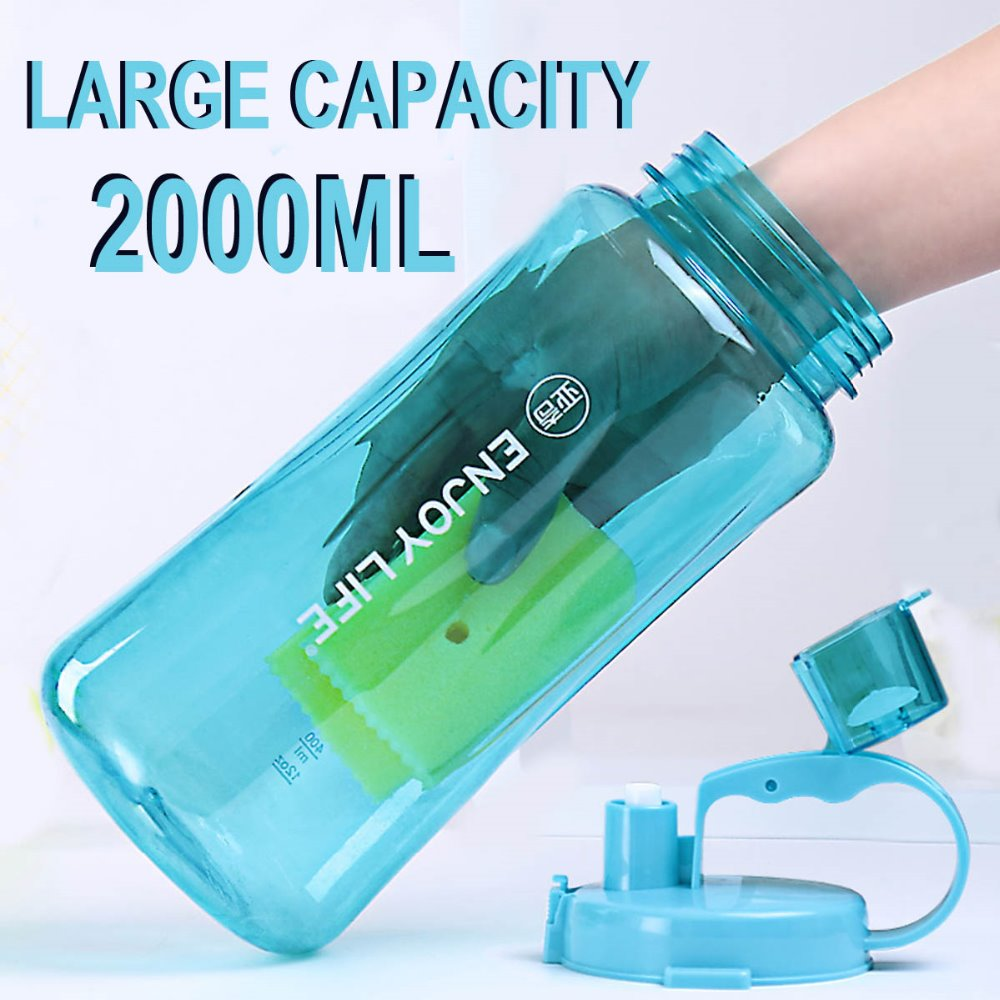 News 2000ml Water Bottle Large Capacity Plastic Sports Bottle For Outdoor Camping Travel 2L Bottle With Straw Drinkware