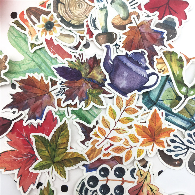 49pcs Hand Drawing  Autumn Leaf Sticker Planner Scrapbooking DIY Dry Glue Sticker