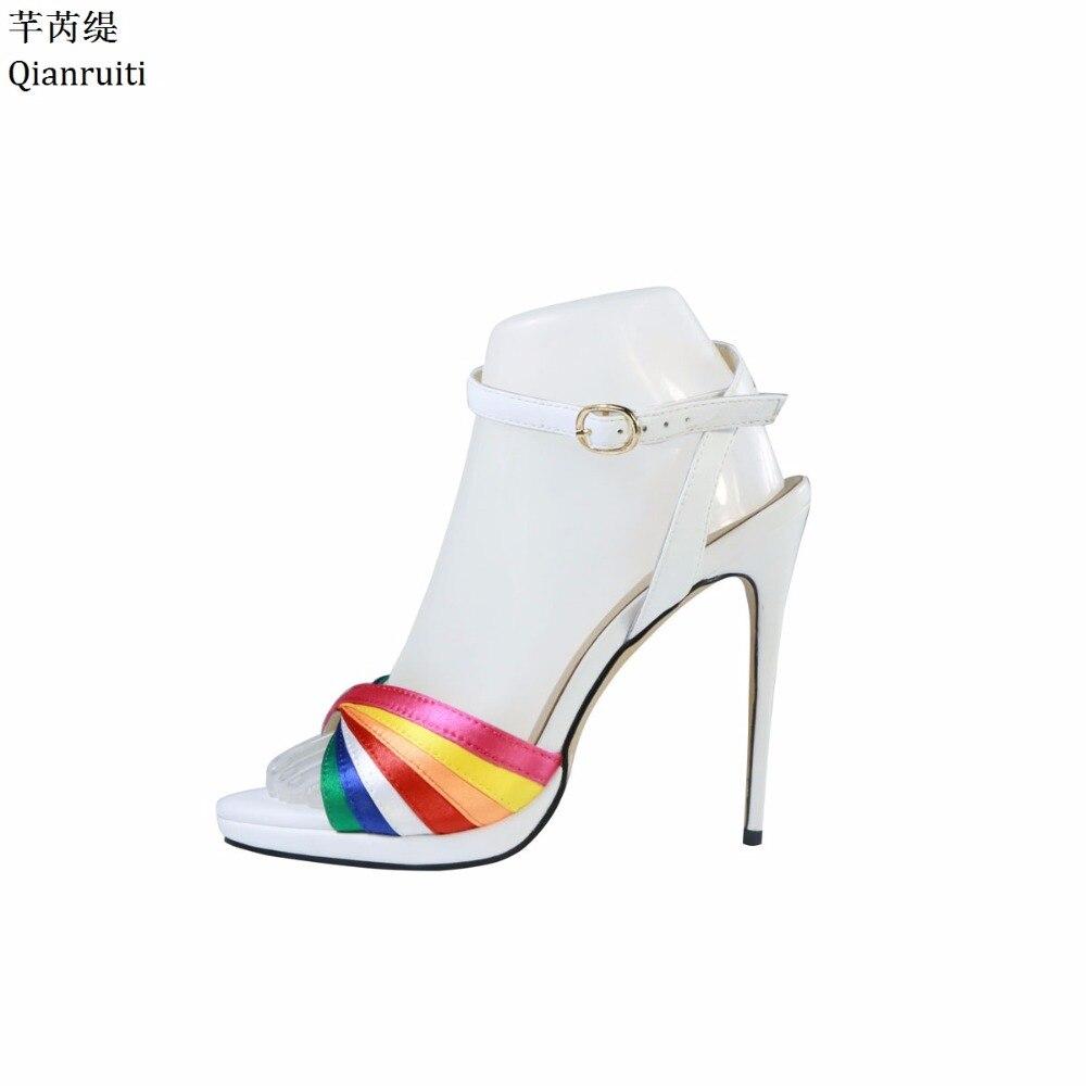 Qianruiti Rainbow Color High Heels Women Sandals Ankle Buckle Strap Women Pumps Kim Kardashian Style Stiletto Heels Shoes