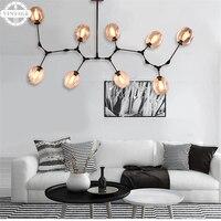 Черный/золото молекулярная нерегулярные Стекло подвесной светильник для гостиной простой Винтаж светильники Гостиная E27 EDISON ЛАМПЫ
