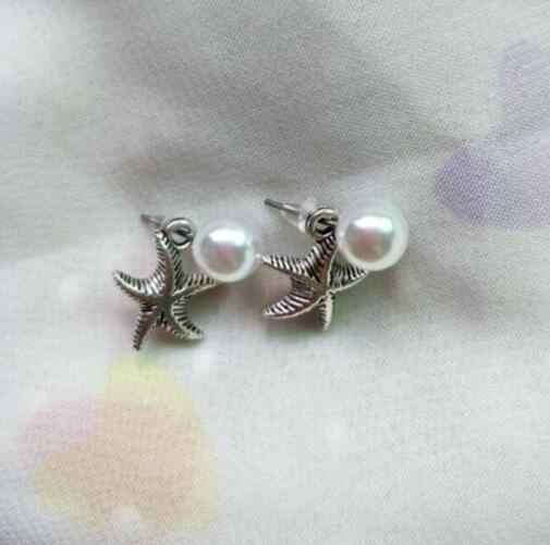 Pendientes de perlas de imitación ey702 de 8mm a la moda estilo bohemio, accesorios de moda, pendientes con dije de estrella de mar Vintage para mujer