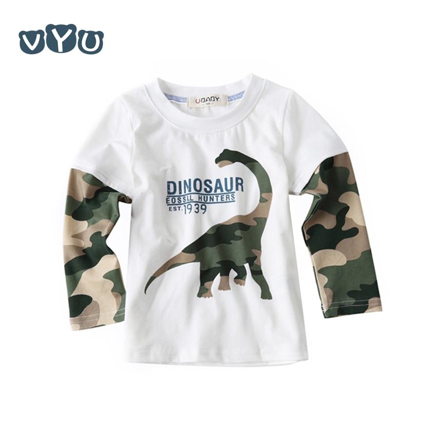 ece353c24232 VYU Cool Cartoon Dinosaur Boys Long Sleeve T Shirt For 1 2 3 4 5 6 7 ...