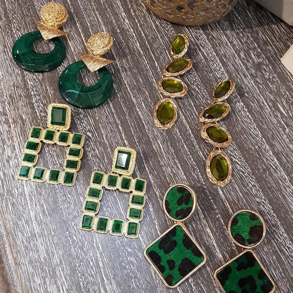 Girlgo Trendy Green Za Metal Maxi Dangle Drop Earrings For Women Gift Geometric Crystal Resin Statement Pendant Earrings Jewelry
