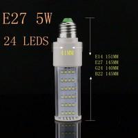 5 шт./лот 5 Вт G24 Мозоли СИД Лампа Лампа Bombillas E27 B22 E14 SMD 2835 Spotlight 180 Градусов AC85-265V Горизонтальной Plug Свет