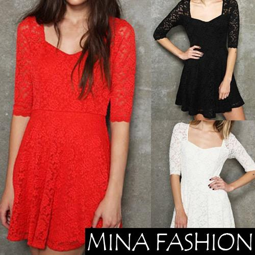WOMEN SEXY LACE DRESS SHORT-SLEEVE BACK PERSPECTIVE DRESS,INVISIBLE ZIPPER Freeshipping