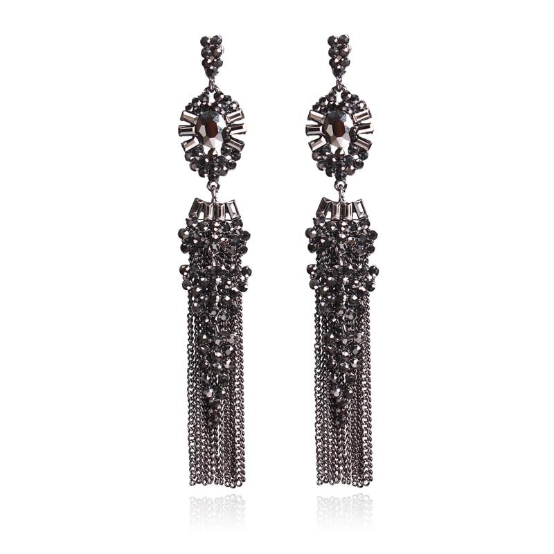 Ztech Vintage Accessories Rhinestone Crystal Alloy Luxury Long Link Tassel Earrings For Women Pendientes Statement Earring in Drop Earrings from Jewelry Accessories