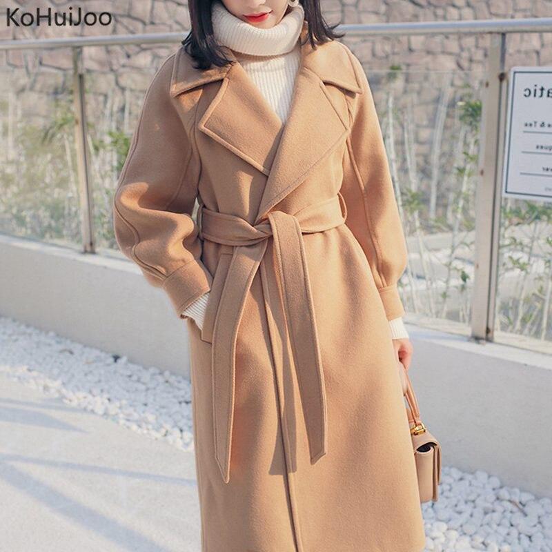 KoHuiJoo X-Long Wool Coat Women 2019  Spring Autumn Solid Lantern Sleeve Woolen Coat Female Jacket Slit Outwear Pink Beige