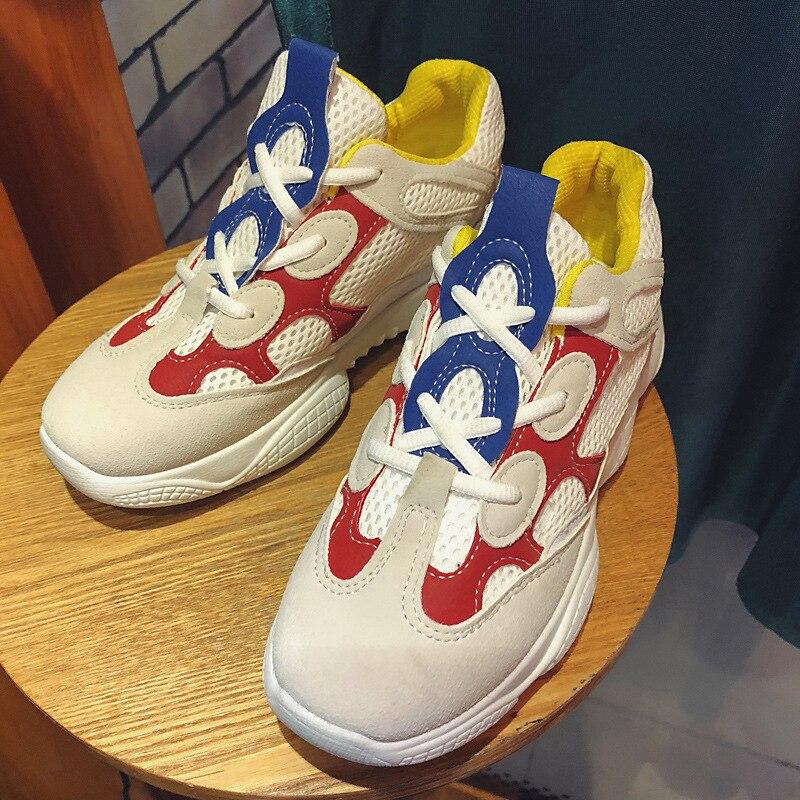 Femmes Sneakers Gris Respirant De En forme Loisirs Chaussures Casual Augmenté Blanc Plate A Cuir rrUwFnqS5