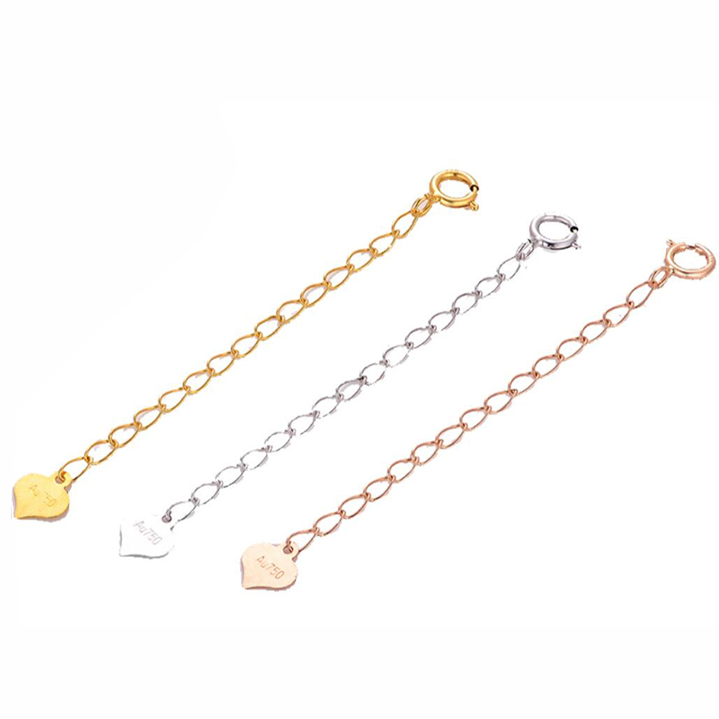 Sinya Jewelry DIY Finding 18k Au750 gold extended chains 3.5cm 5.5cm length necklace bracelet chain extender with tag Hot sale
