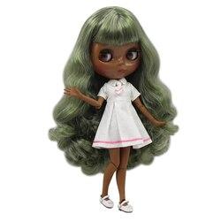 Blyth boneca nua super balck tom de pele Mais Escuro 30 centímetros red wine longo encaracolado cabelo conjunta corpo gelado sd alta qualidade presentes brinquedo