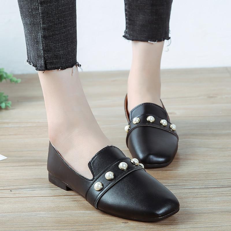 On 2019 noir Confortable Chaussures Perle Appartements Square Zapatos Toe H7040 Slip Mocassins Noir Dames Femme Femmes Beige Printemps Bateau Mujer wXB0C
