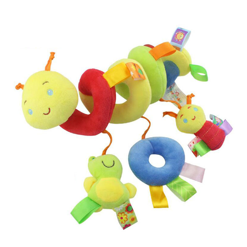 Kawaii Cartoon Animal Baby Toy Crib Stroller Baby Bed Hanging Rattles Mobile Multifunctional Hanging Plush Toy Handbell Windbell