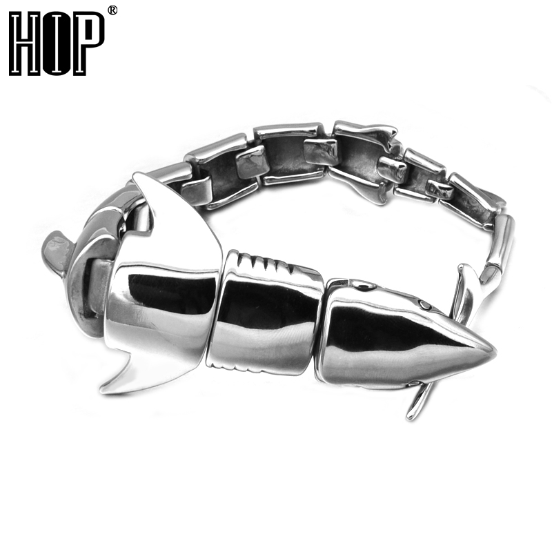 HIP Punk Gothic Cool Shark Bracelet Steel Glaze Men Male Bracelets Bangles Personality Exaggerated Bracelet for Men Jewelry new 2016 men s printed jeans punk style gothic painted cotton straight leg cool jeans for young men