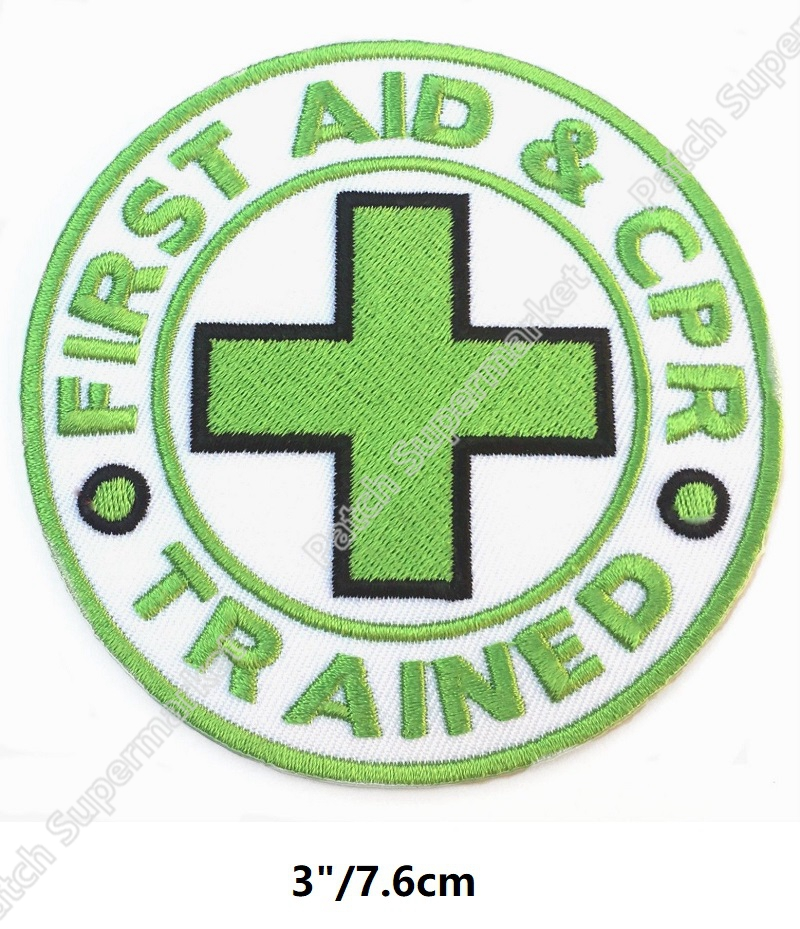 3 First Aid CPR AED Trained Patches Medical Nurse Doctor Light Green logo Embroidered Iron On