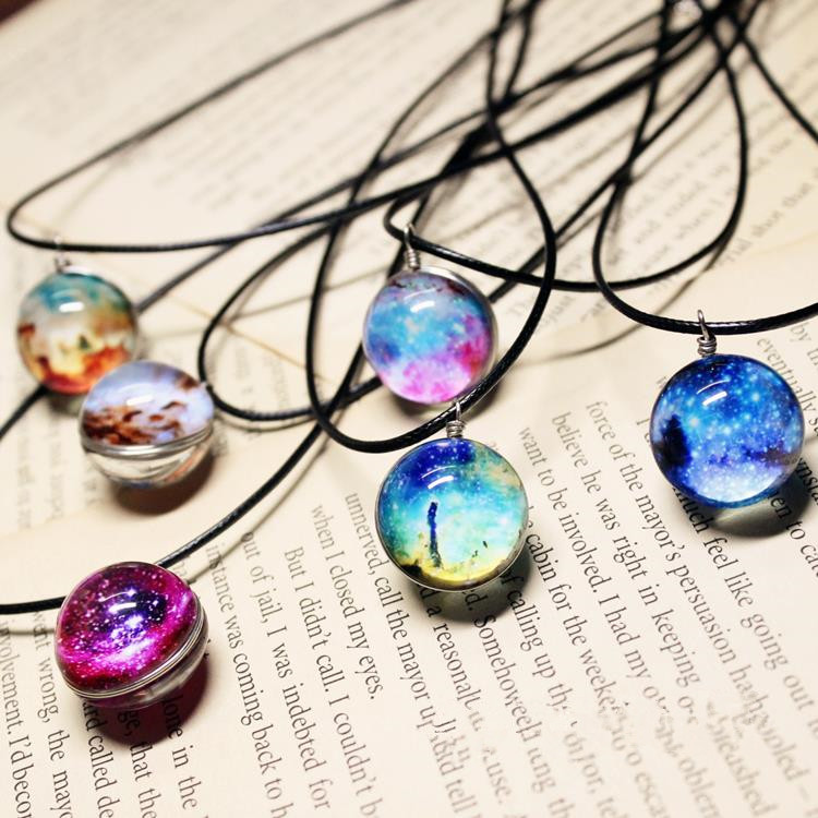 Collares Duplex Planet Harajuku Stars Short Glass Galaxy Pattern Necklaces & Pendants Maxi Necklace For Womem Couple Girlfriend