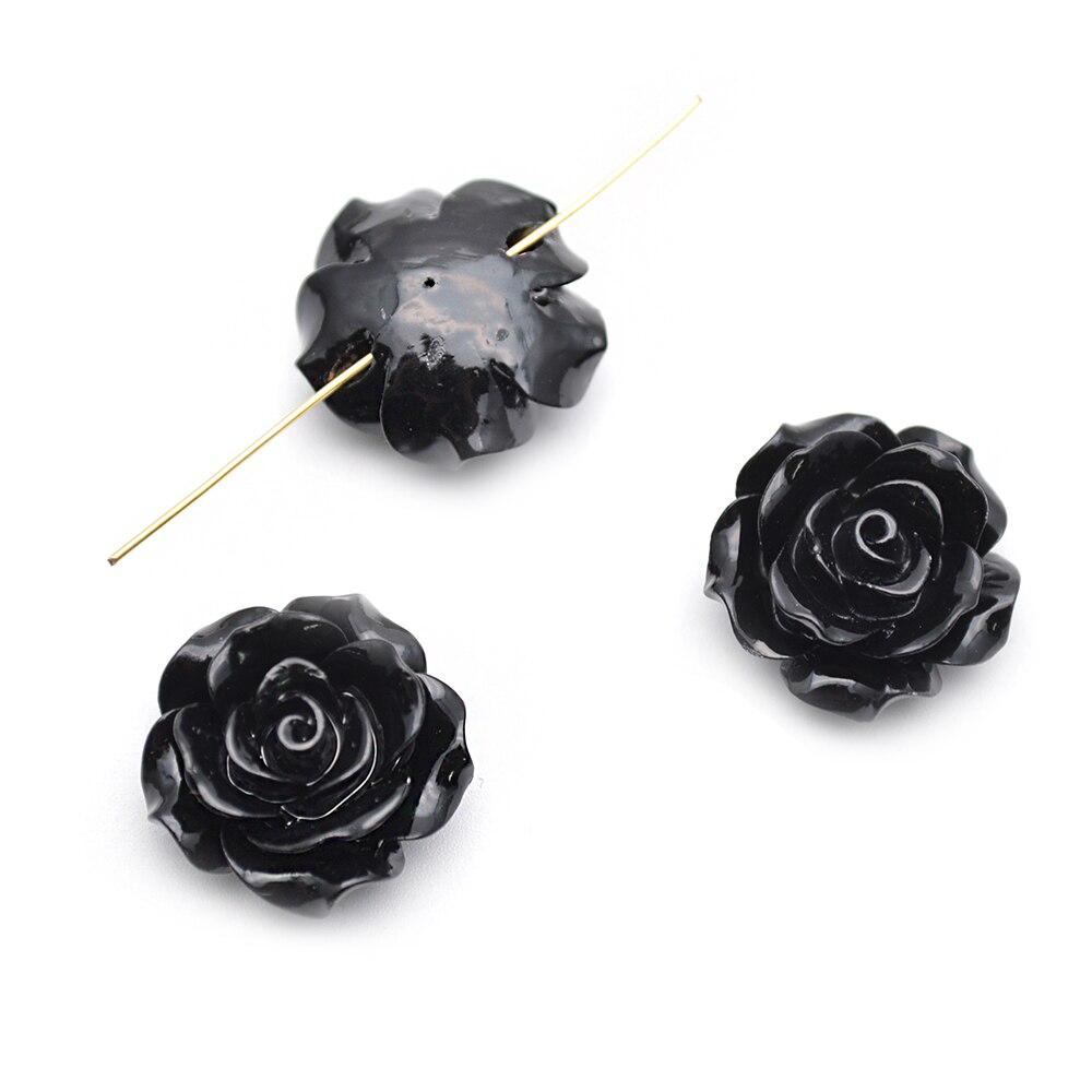Takı ve Aksesuarları'ten Boncuklar'de 20mm Siyah Renk Reçine Plastik Çiçek dağınık boncuklar fit moda takı yapımı 300 adet başına lot'da  Grup 1