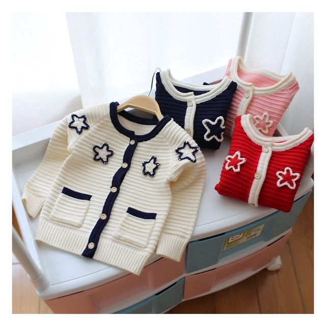 New Hot Children Clothing Kids Sweater Knitted Sweater Girls Sweater Star Embroidery  2016 Autumn Winter Kids Cardigan