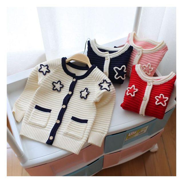 Nueva Caliente de Los Niños Ropa Niños Suéter de Punto Suéter Suéter de Las Muchachas Estrella Bordado 2016 Otoño Invierno Niños de la Rebeca